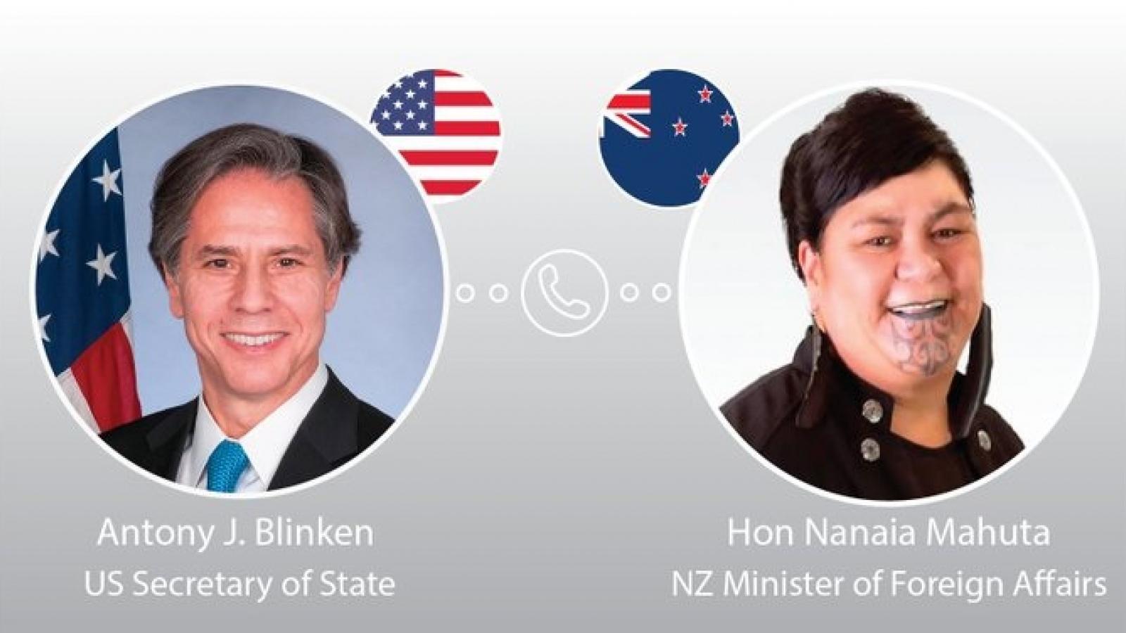 Mỹ và New Zealand cam kết thúc đẩy ổn định tại Ấn Độ Dương-Thái Bình Dương