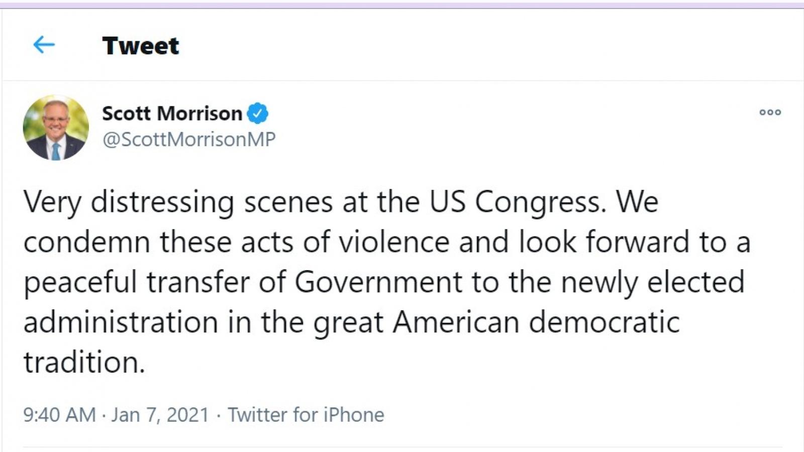 Lãnh đạo Australia và New Zealand lên án hành động bạo loạn ở Mỹ