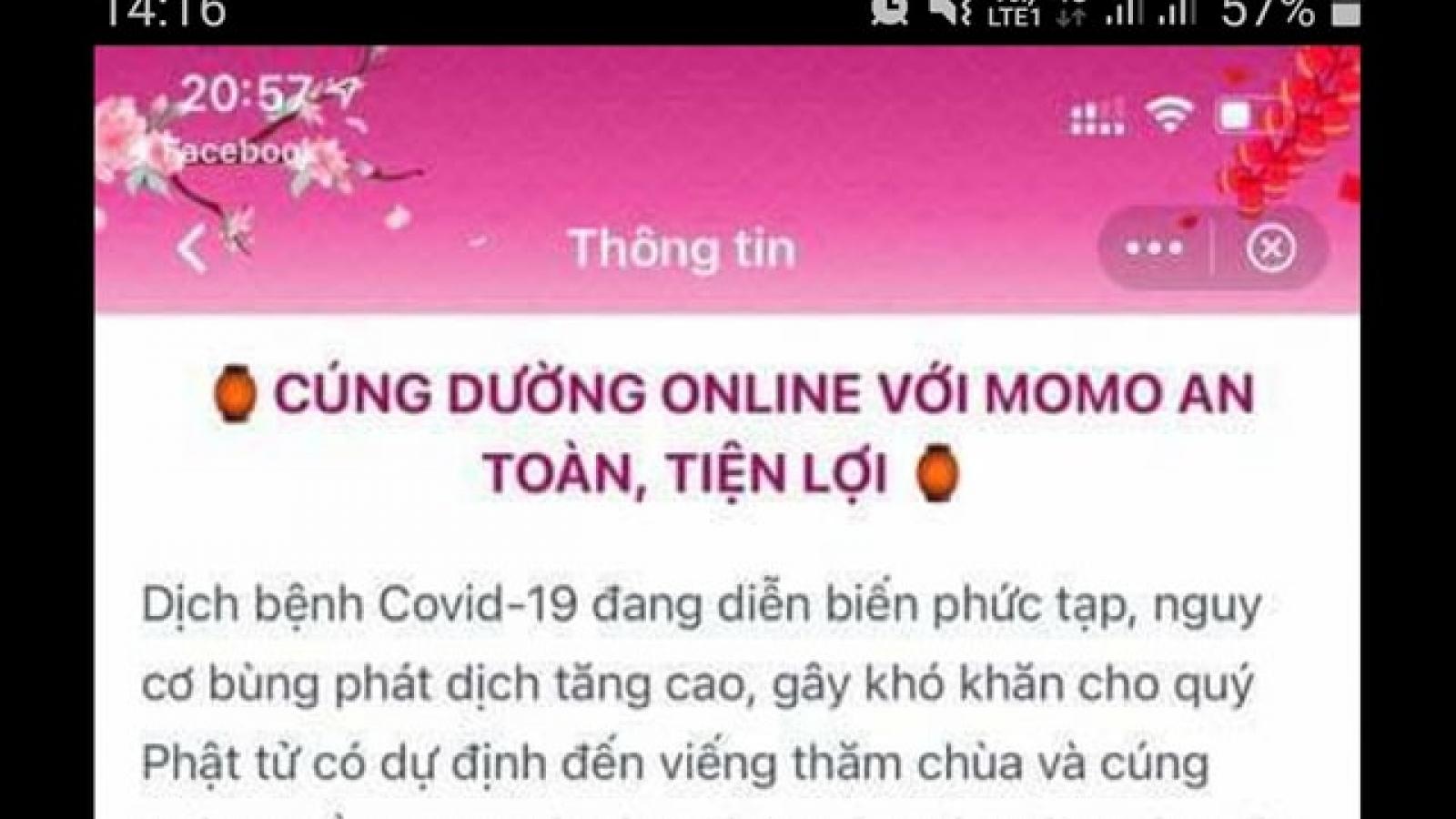 Cảnh giác chiêu trò mạo danh các chùa kêu gọi cúng dường online