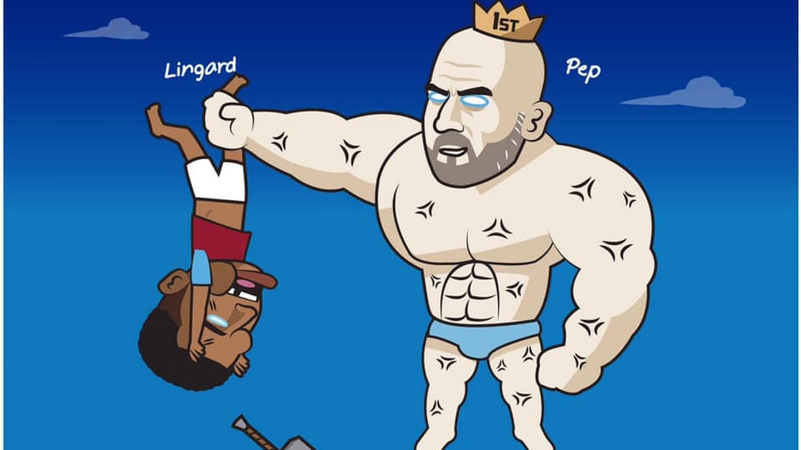"Biếm họa 24h: HLV Pep Guardiola ""trừng trị"" Lingard"
