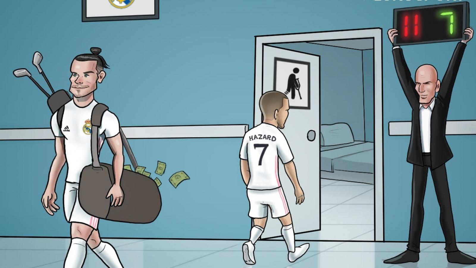 "Biếm họa 24h: Hazard thay Gareth Bale làm chủ ""bệnh viện"" Real Madrid"