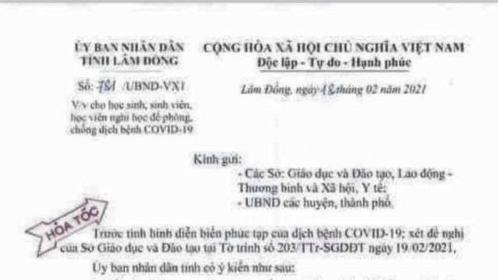 Thông báo khẩn về giả mạo văn bản của Chủ tịch tỉnh Lâm Đồng cho học sinh nghỉ học