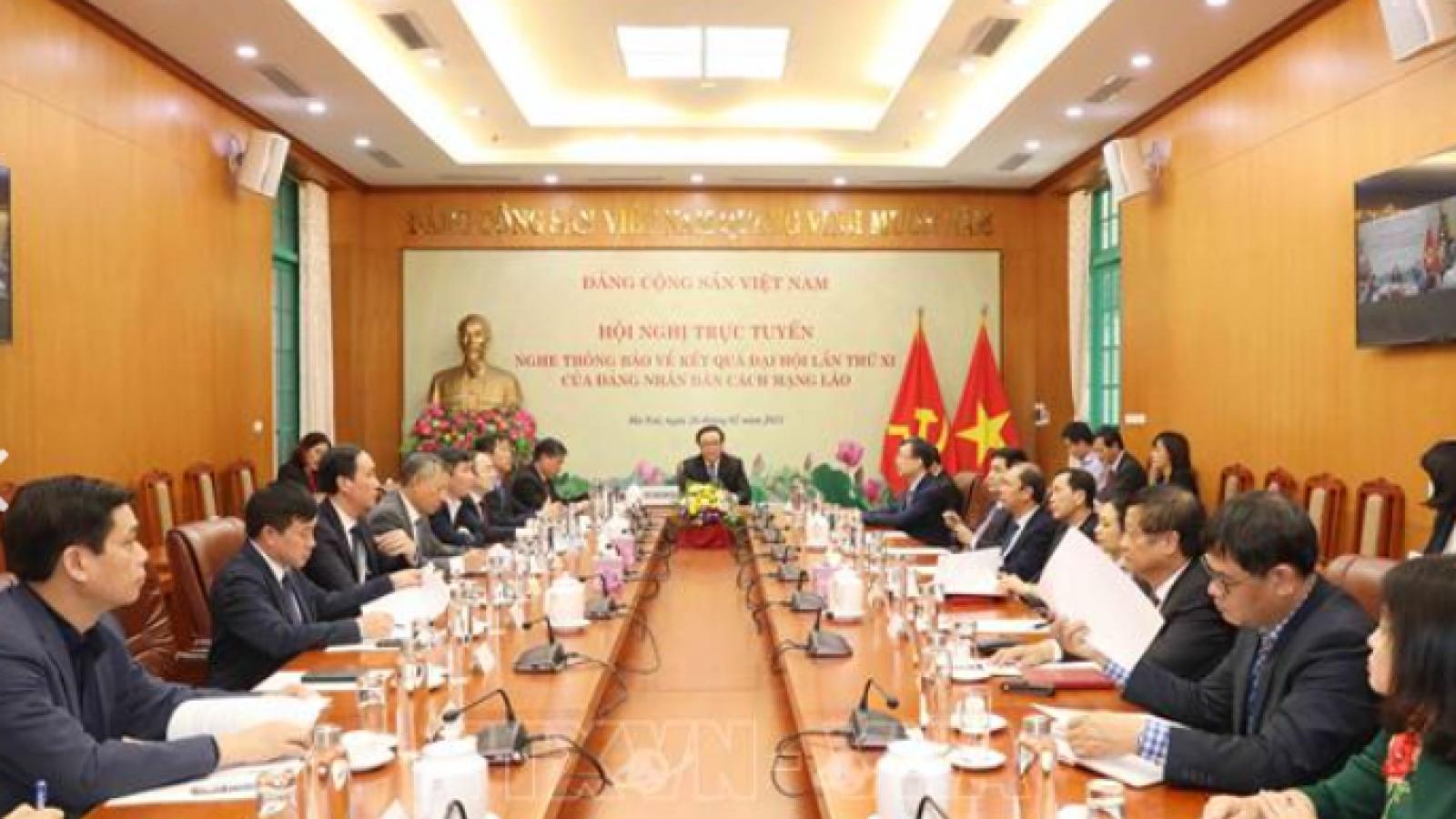 Lãnh đạo Lào thông báo cho phía Việt Nam về kết quả Đại hội Đảng lần thứ XI