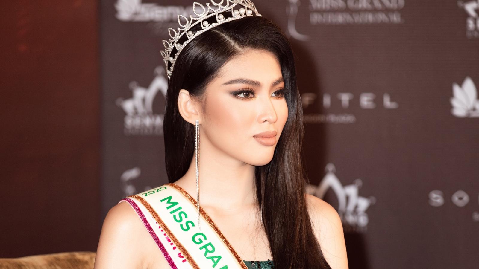 Á hậu Ngọc Thảo nổi bật trong họp báo công bố tham dự Miss Grand International 2020