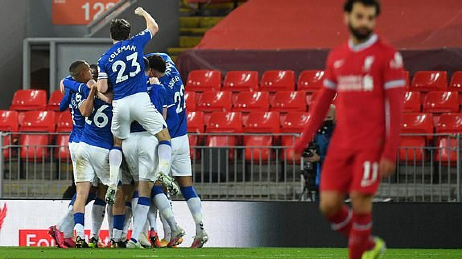 Thất thủ 0-2 trước Everton, Liverpool thua trận thứ 4 liên tiếp ở Ngoại hạng Anh