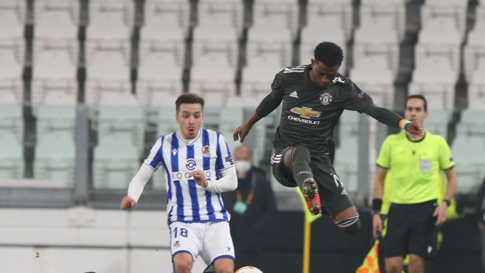 Amad Diallo có thống kê ấn tượng ở trận Sociedad 0-4 MU
