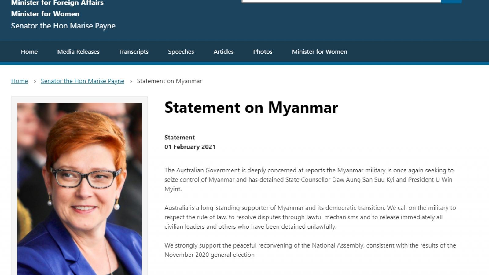 Australia và New Zealand phản ứng trước tình hình ở Myanmar