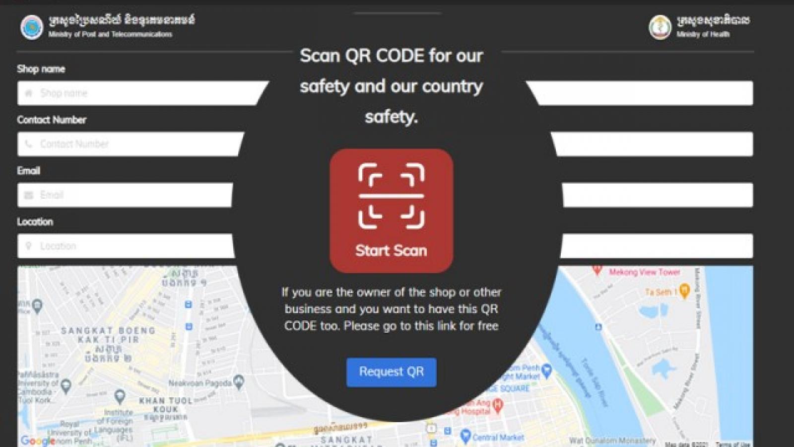 """Campuchia sử dụng hệ thống QR Code """" Stop Covid"""" để kiểm soát những nơi đông người"""