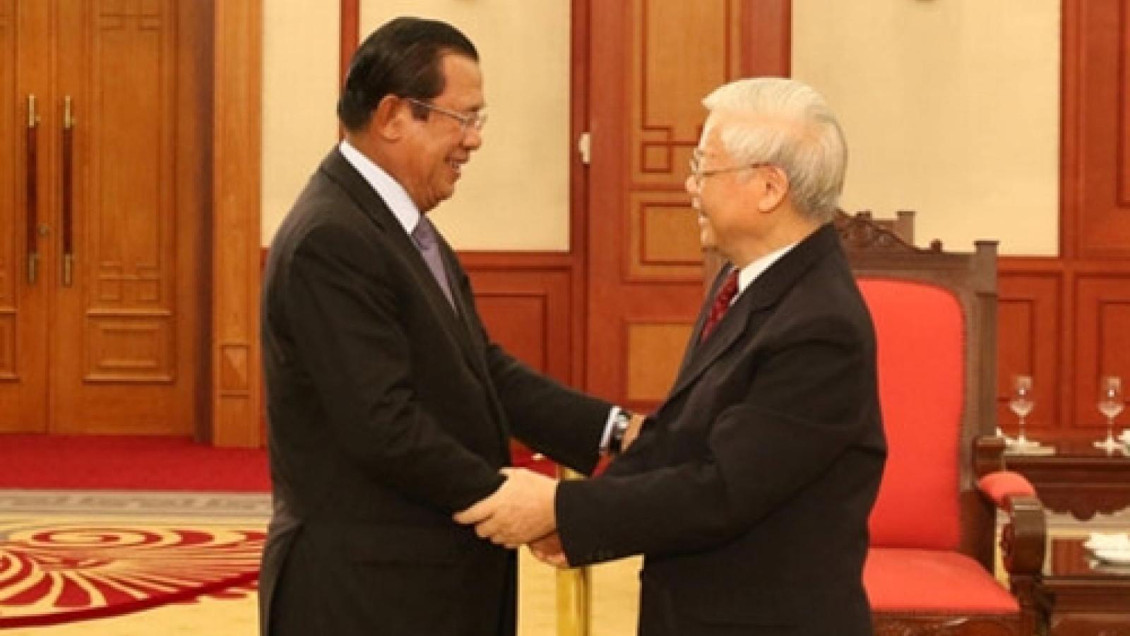Thủ tướng Campuchia gửi điện chúc mừng tới Tổng bí thư Nguyễn Phú Trọng