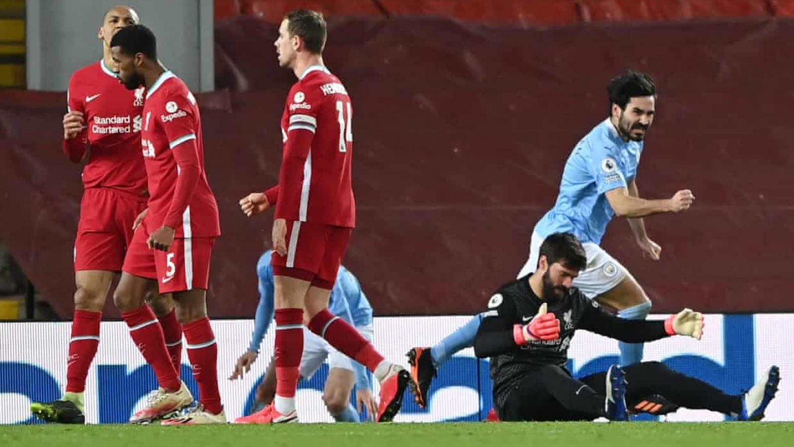 """Chấm điểm Liverpool 1-4 Man City: """"Thảm họa"""" Alisson, bất ngờ Gundogan"""