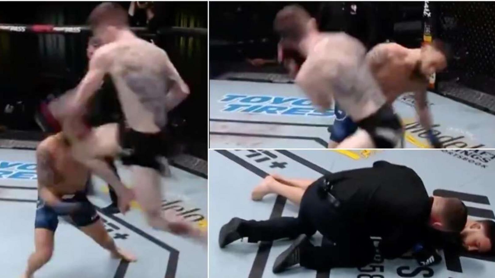 """Đòn """"gối bay"""" hạ knock-out cựu vương UFC chỉ sau 20 giây"""
