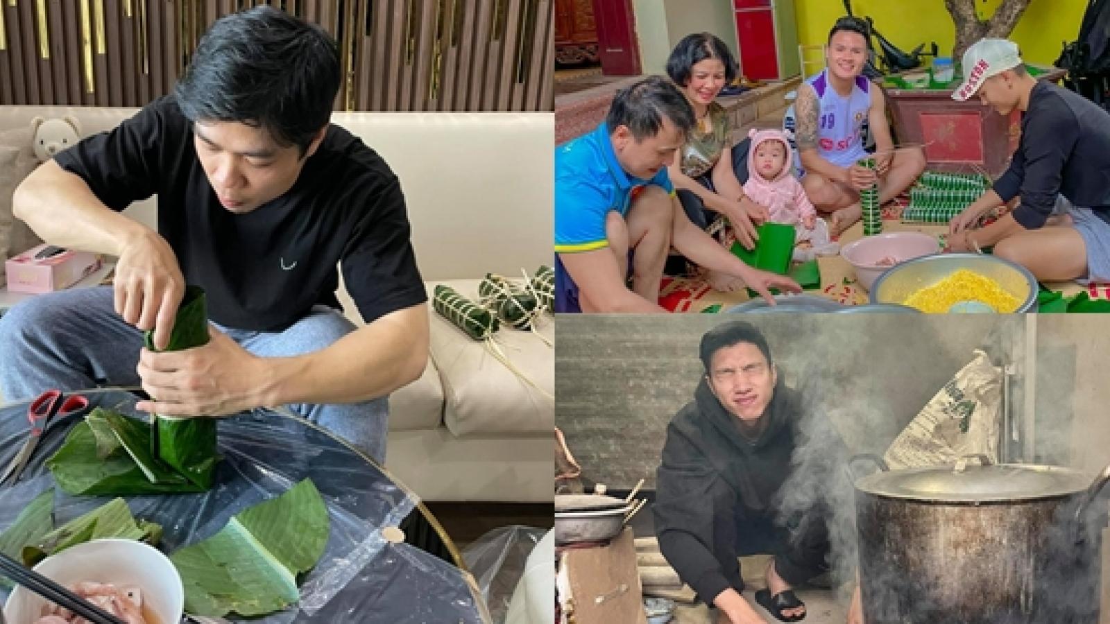 Dàn sao ĐT Việt Nam trổ tài gói bánh chưng đón Tết