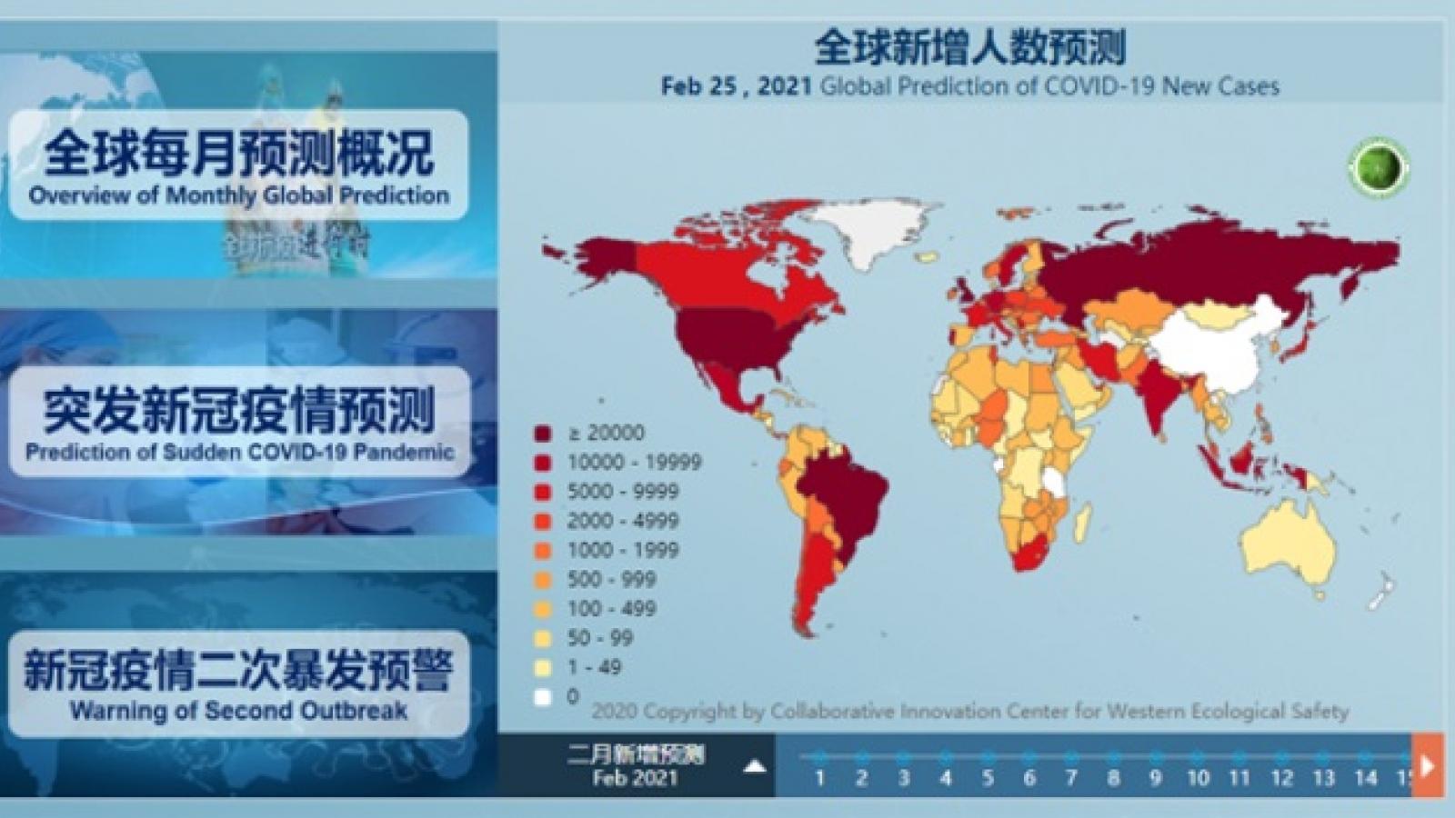 Trung Quốc pháttriển hệ thống dự báo Covid-19 toàn cầu đầu tiên trên thế giới