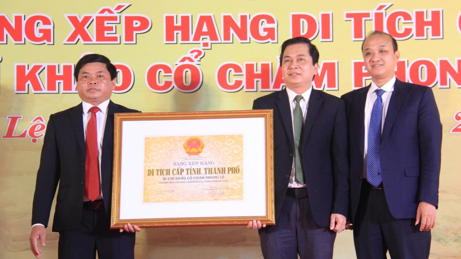 Di chỉ khảo cổ Chăm Phong Lệ đón nhận bằng xếp hạng di tích thành phố