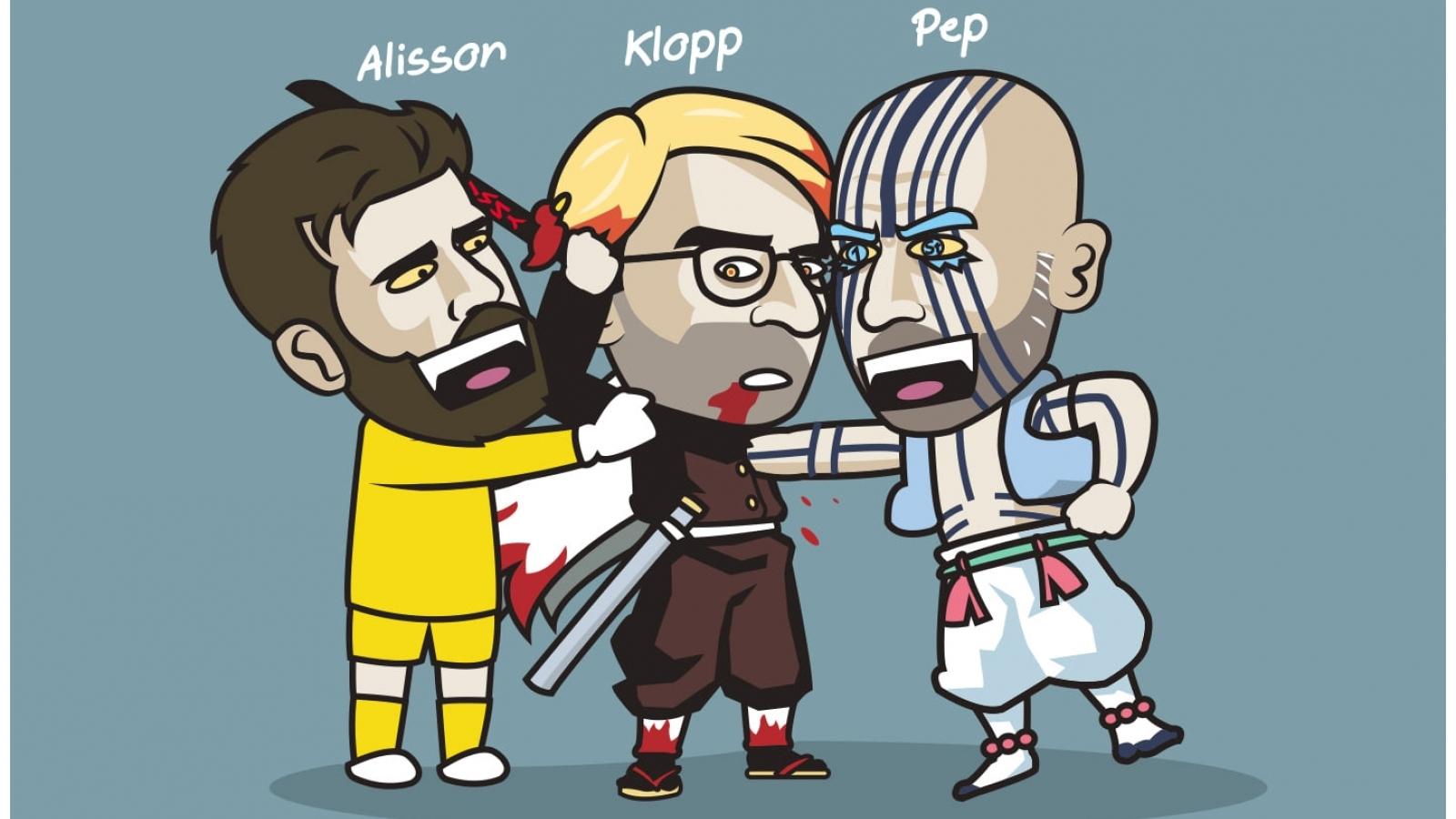 """Biếm họa 24h: Alisson """"tiếp tay"""" để Pep Guardiola hạ gục Jurgen Klopp"""