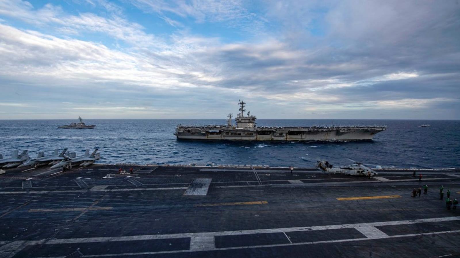 Lần đầu tiên Mỹ đưa 2 tàu sân bay cùng tập trận ở Biển Đông kể từ tháng 7/2020