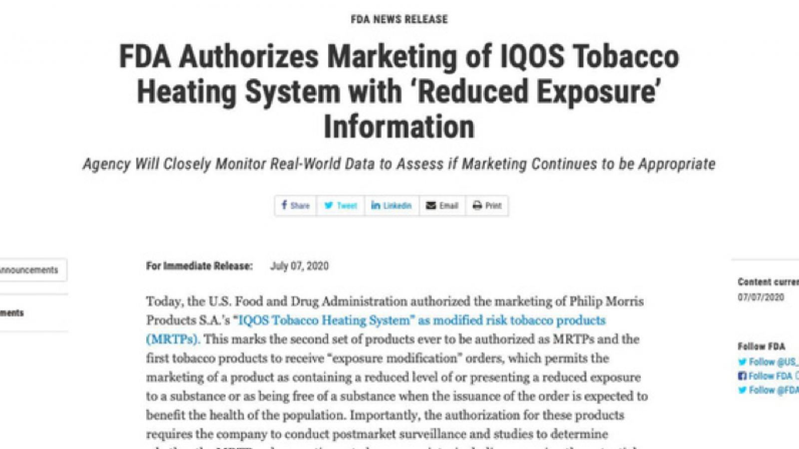 Vì sao FDA Hoa Kỳ chấp nhận thuốc lá làm nóng?