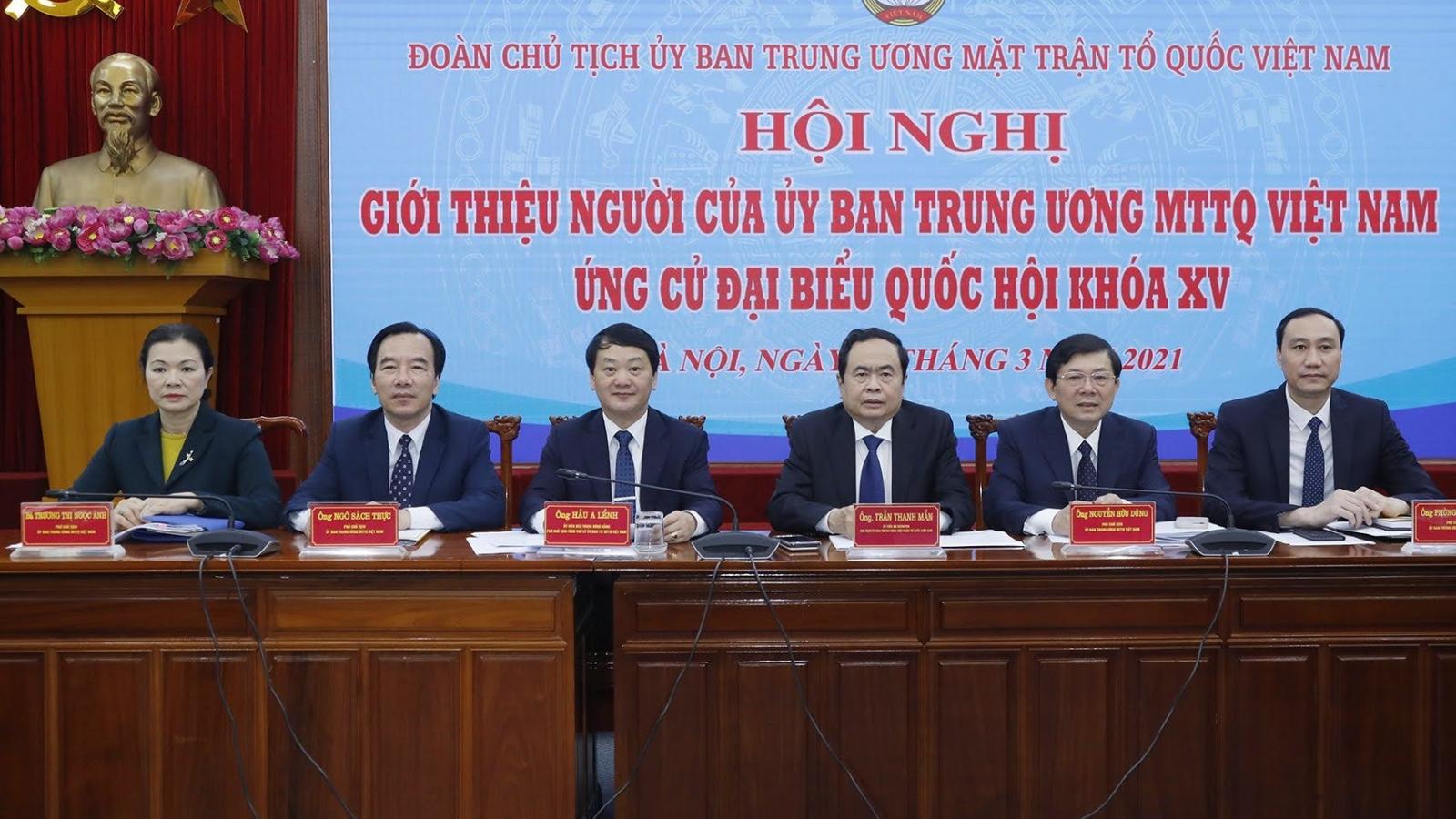 MTTQ Việt Nam giới thiệu 4 người ứng cử Đại biểu Quốc hội khóa XV