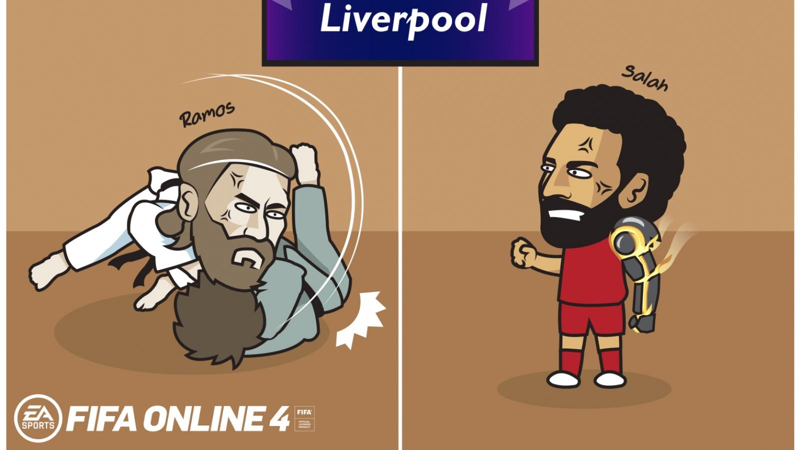 """Biếm họa 24h: Salah đã chuẩn bị """"một cánh tay đẹp"""" để đấu Ramos"""