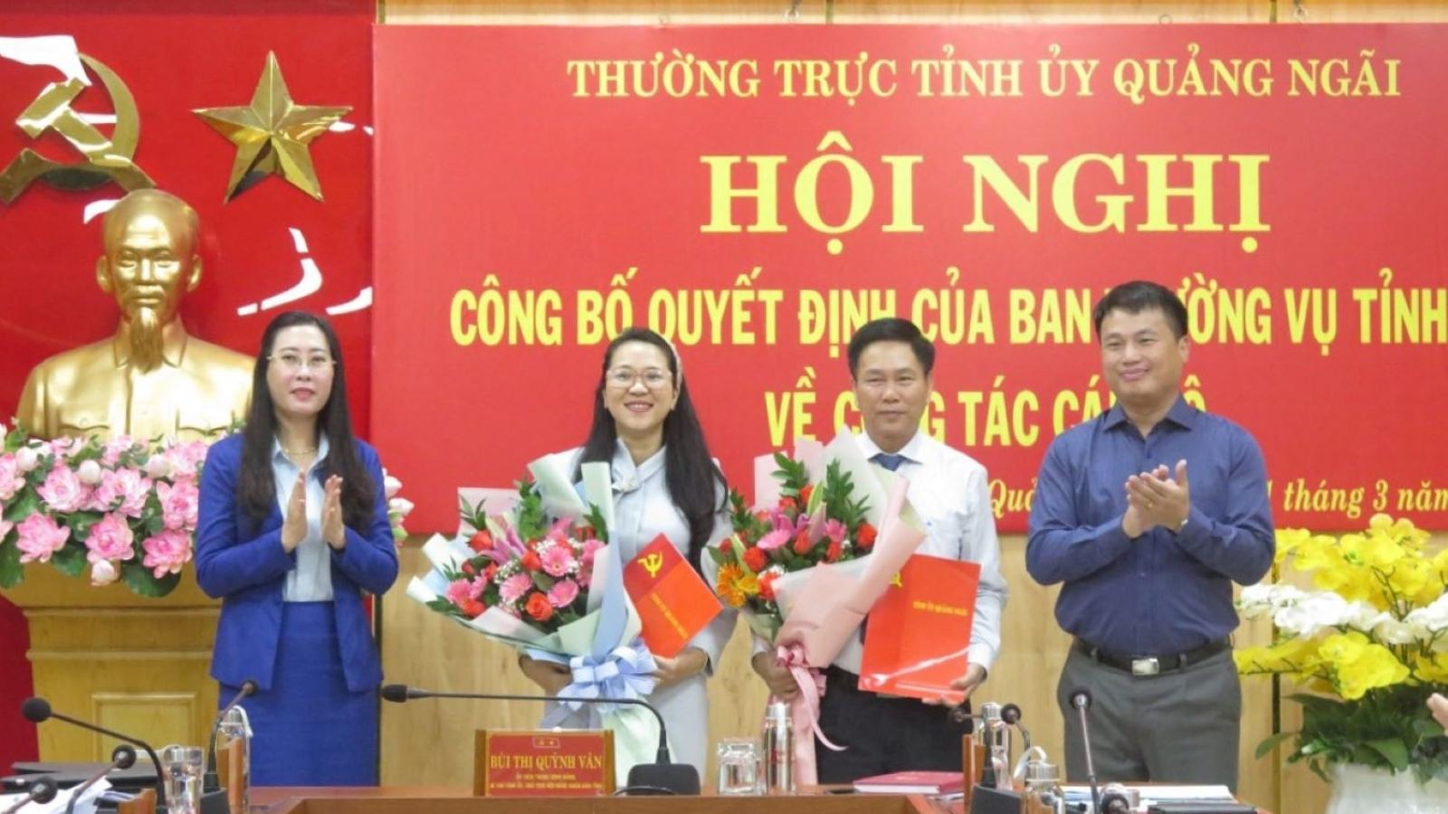 Quảng Ngãi:Bổ nhiệm Chánh Văn phòng UBND tỉnhvà Giám đốc sở Tài Chính