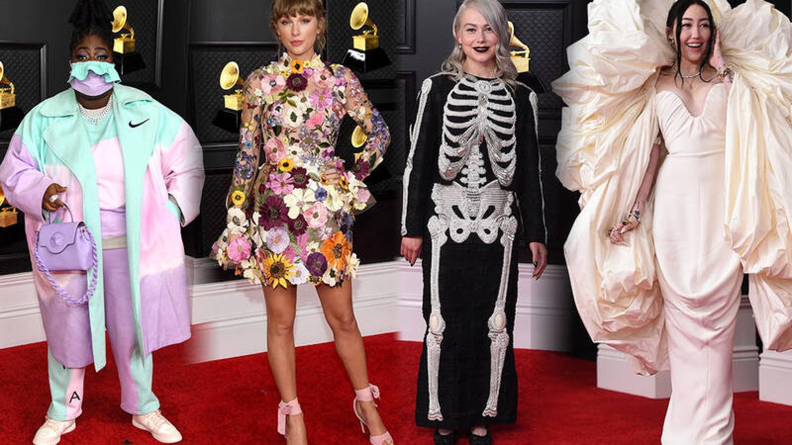 """Thời trang thảm đỏ Grammy: Người """"kín cổng cao tường"""", kẻ diện đồ hở bạo"""