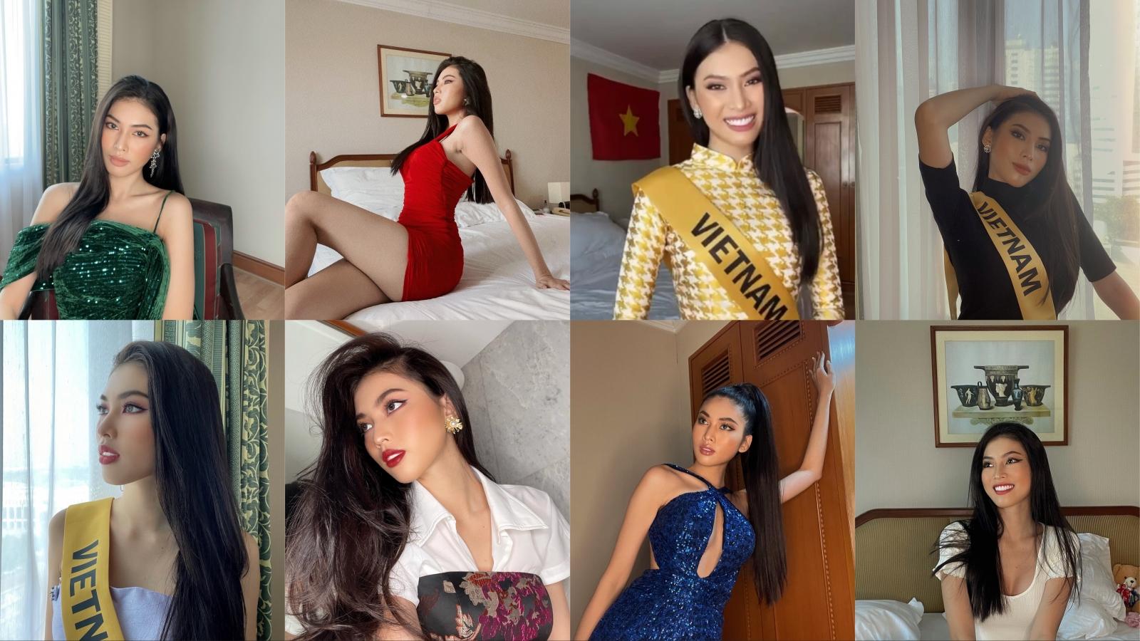 Á hậu Ngọc Thảo khoe bộ sưu tập thời trang cách ly khi tham dự Miss Grand International