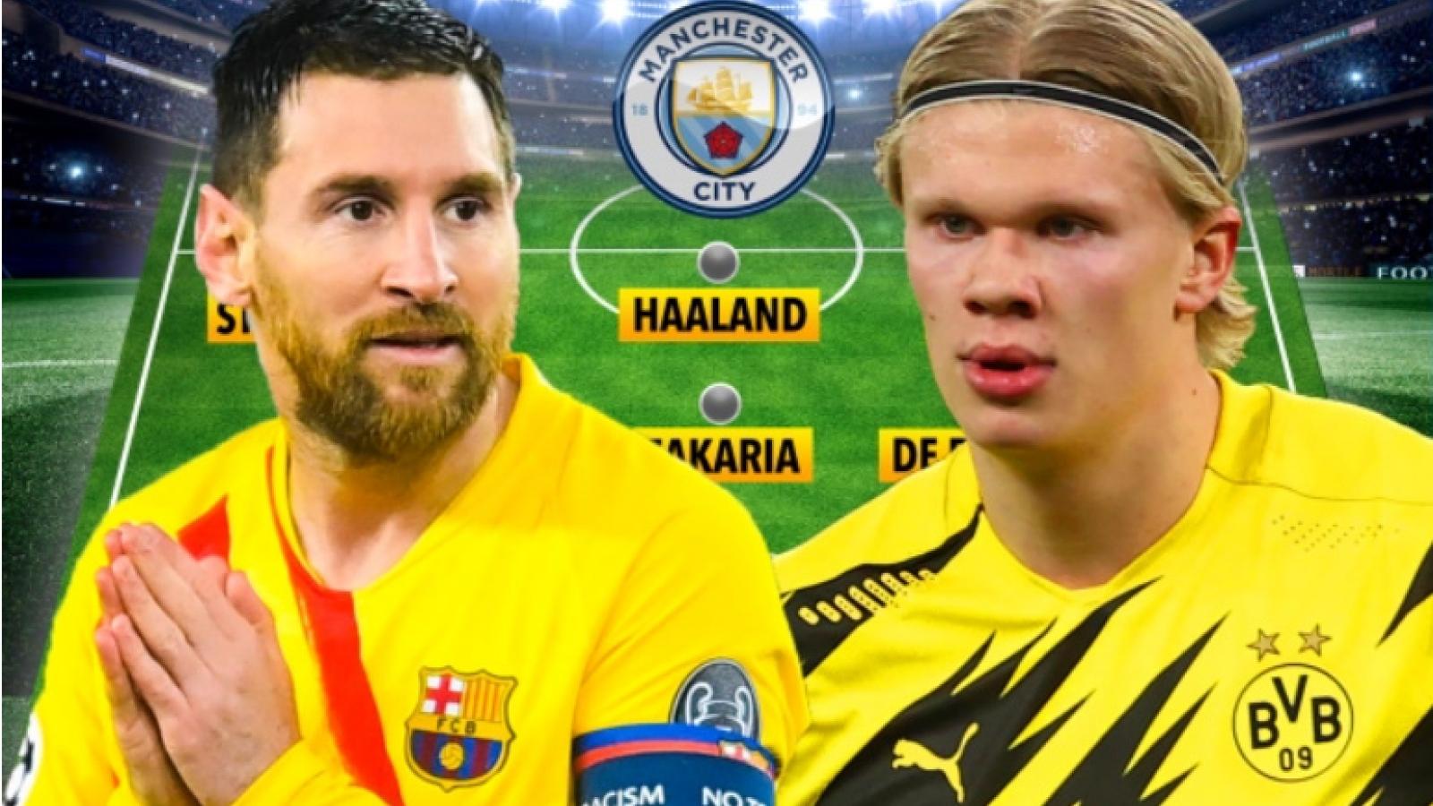 """Đội hình """"siêu khủng"""" của Man City khi có Messi và người thay thế Aguero"""