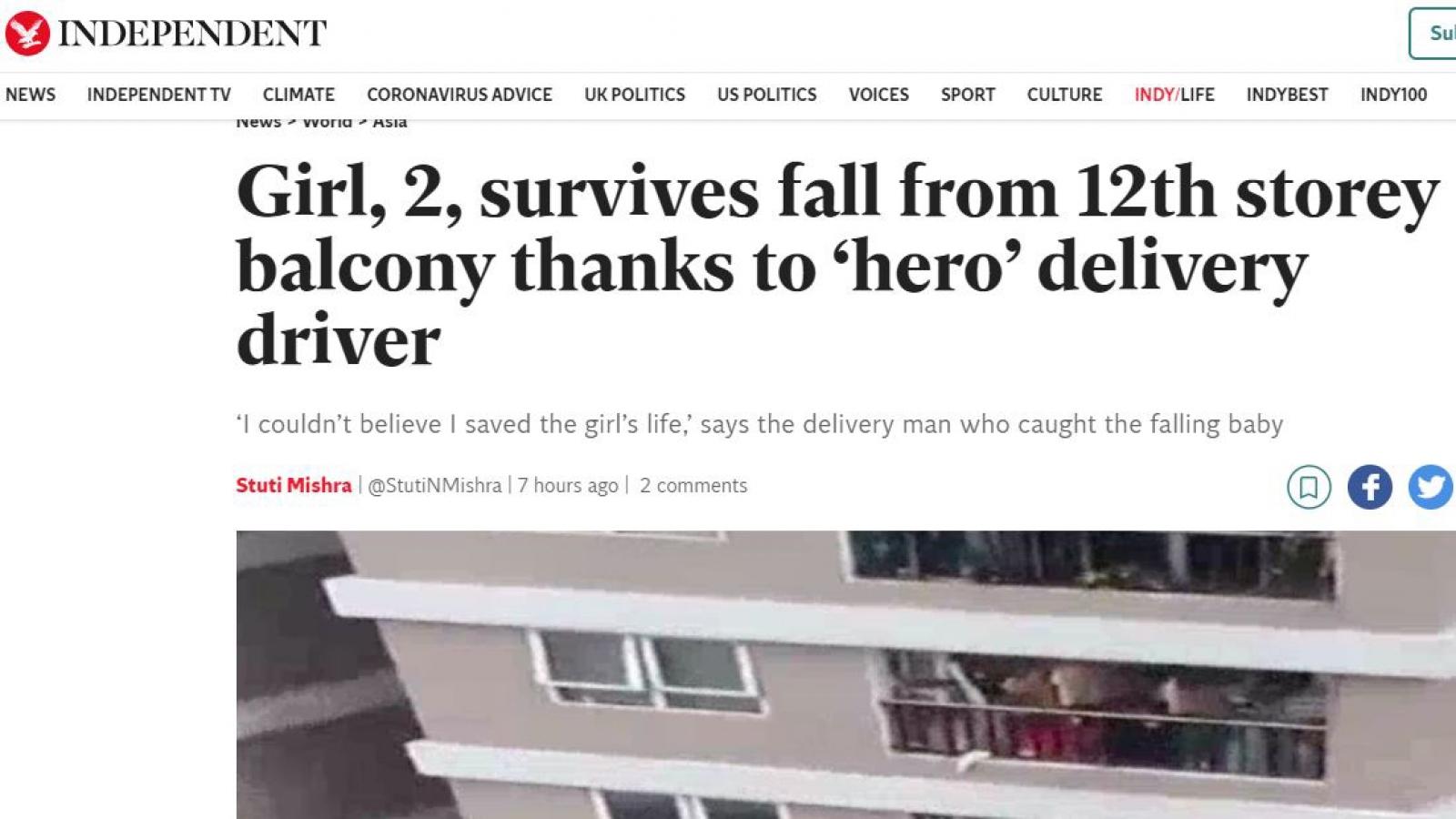 """Báo Anh gọi Nguyễn Ngọc Mạnh là """"người hùng"""" sau khi cứu bé gái rơi từ tầng 12"""