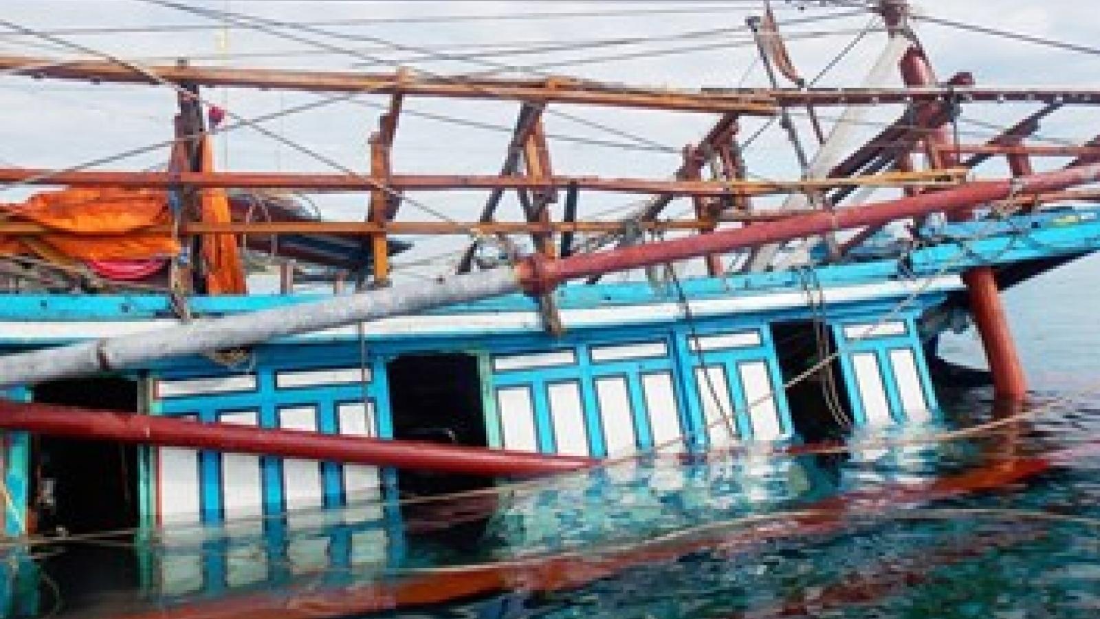Huy động phương tiện đưa 47 ngư dânQuảng Namtrên tàu câu mựcbị chìm vào bờ