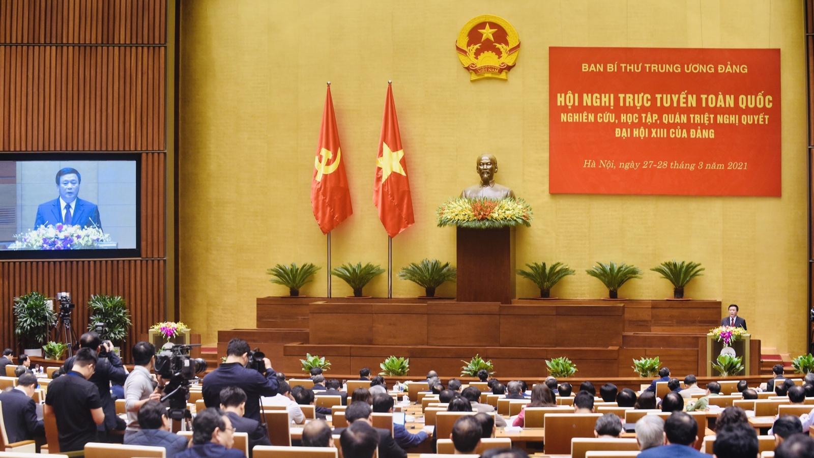 Hội nghị trực tuyến toàn quốc nghiên cứu, học tập, quán triệt Nghị quyết Đại hội XIII