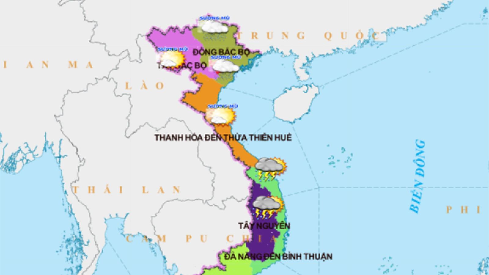 Thời tiết hôm nay (25/3): Hà Nội có mưa phùn và sương mù