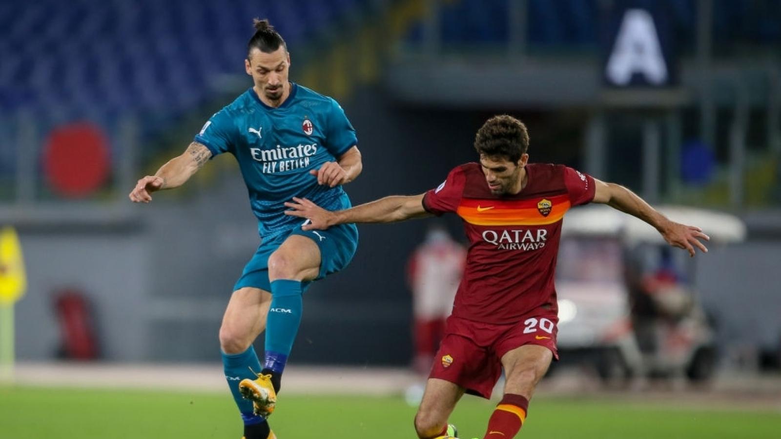 Ibrahimovic mờ nhạt, AC Milan nhọc nhằn đánh bại Roma