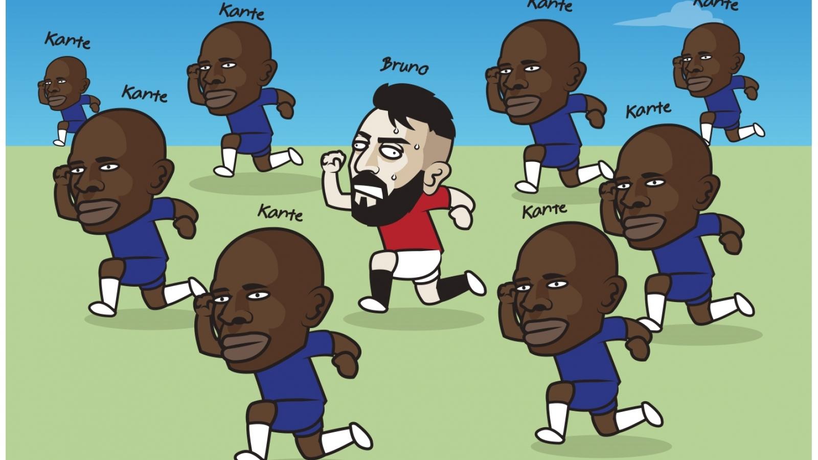 Biếm họa 24h: Bruno Fernandes chạy đâu cho thoát khỏi N'Golo Kante?
