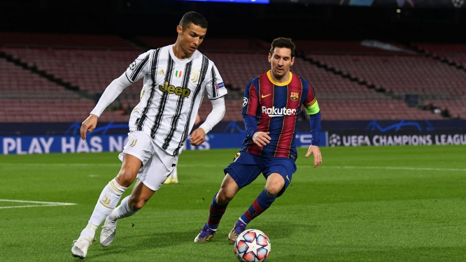 Cristiano Ronaldo đứng trên Lionel Messi trong BXH mang tầm thế kỷ