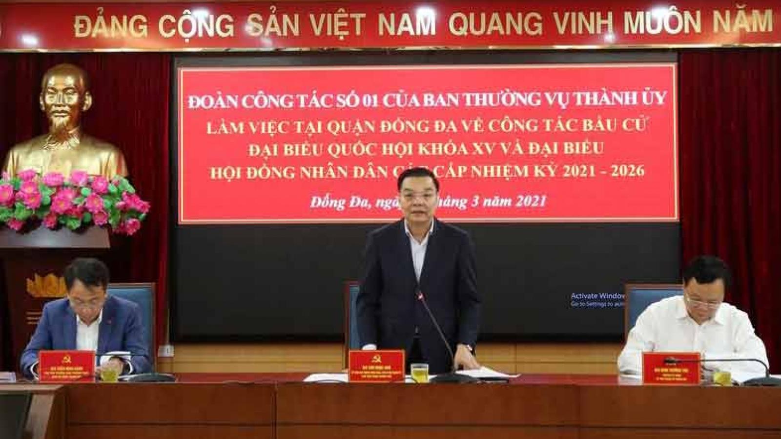 Chủ tịch UBND thành phố Hà Nội kiểm tra công tác phục vụ bầu cử tại Đống Đa
