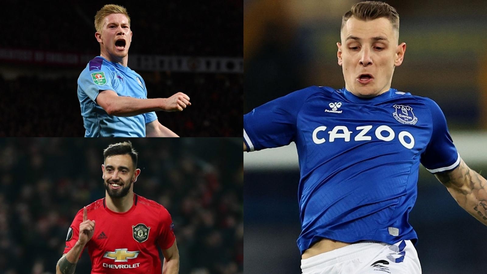 """Top 10 """"vua kiến tạo"""" Ngoại hạng Anh 20/21: Fernandes đứng sau De Bruyne"""