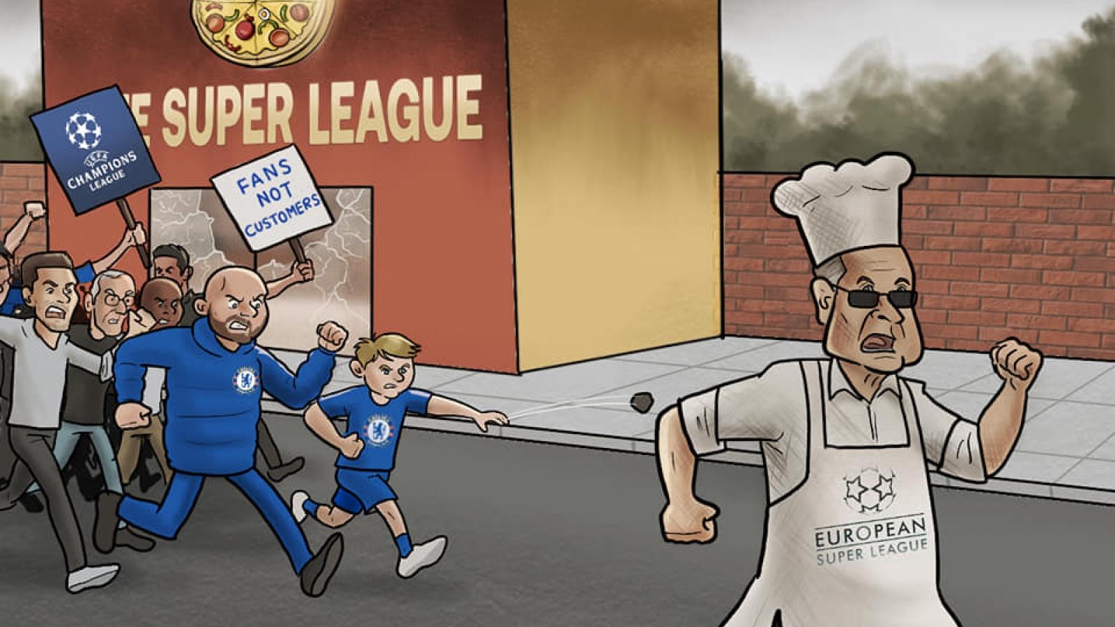Biếm họa 24h: Perez vã mồ hôi vì Super League sụp đổ