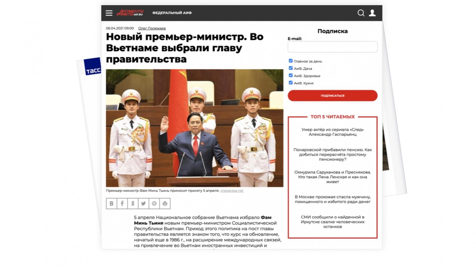 Báo chí Nga đưa tin đậm nét về nhân sự cấp cao của Việt Nam