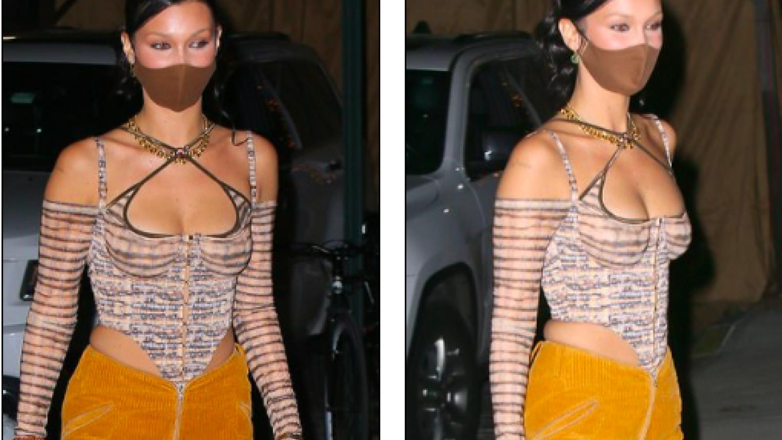 Bella Hadid diện mốt khoe ngực đầy trên phố