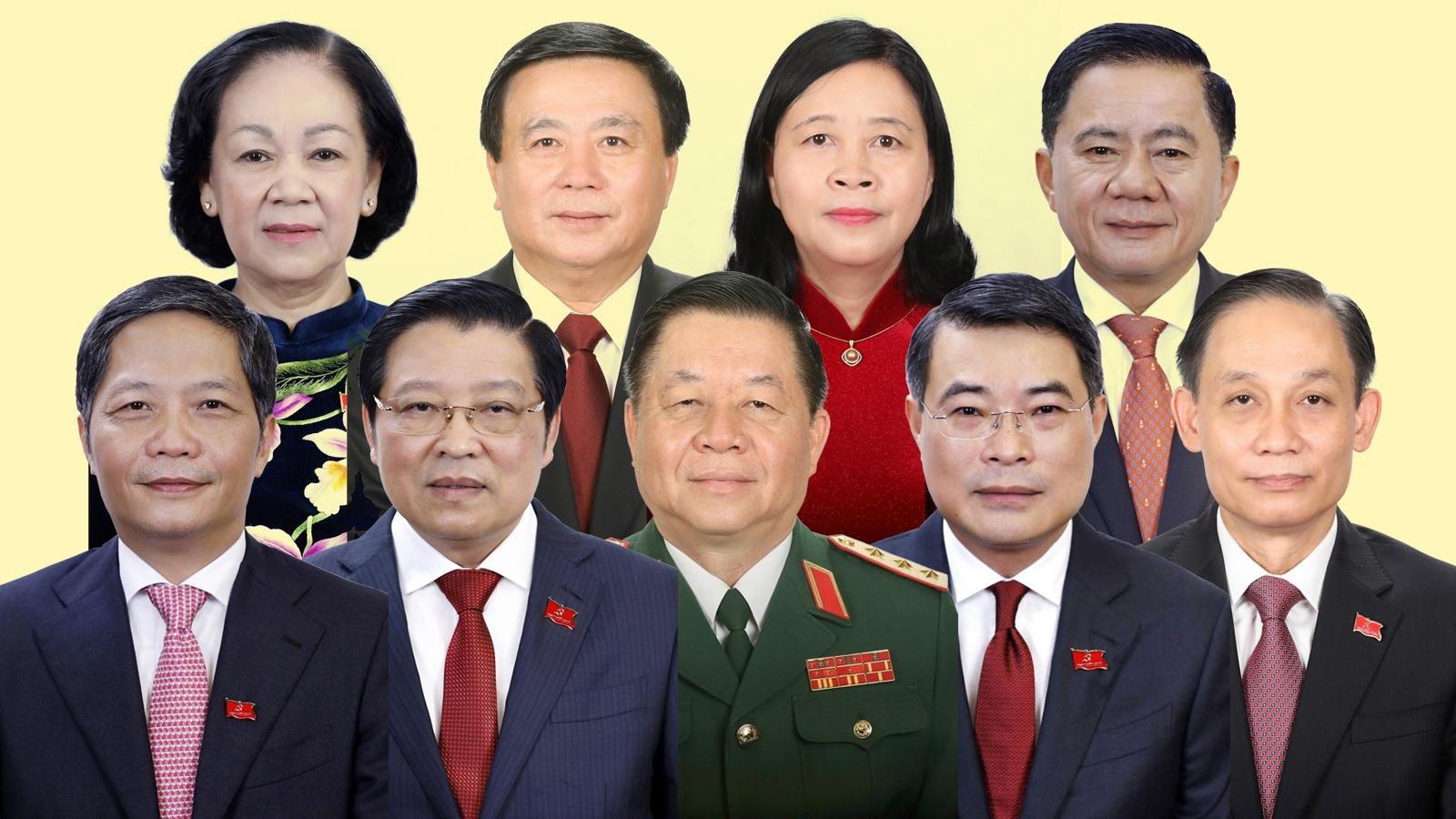 Lãnh đạo các cơ quan Trung ương Đảng khóa XIII sau khi kiện toàn