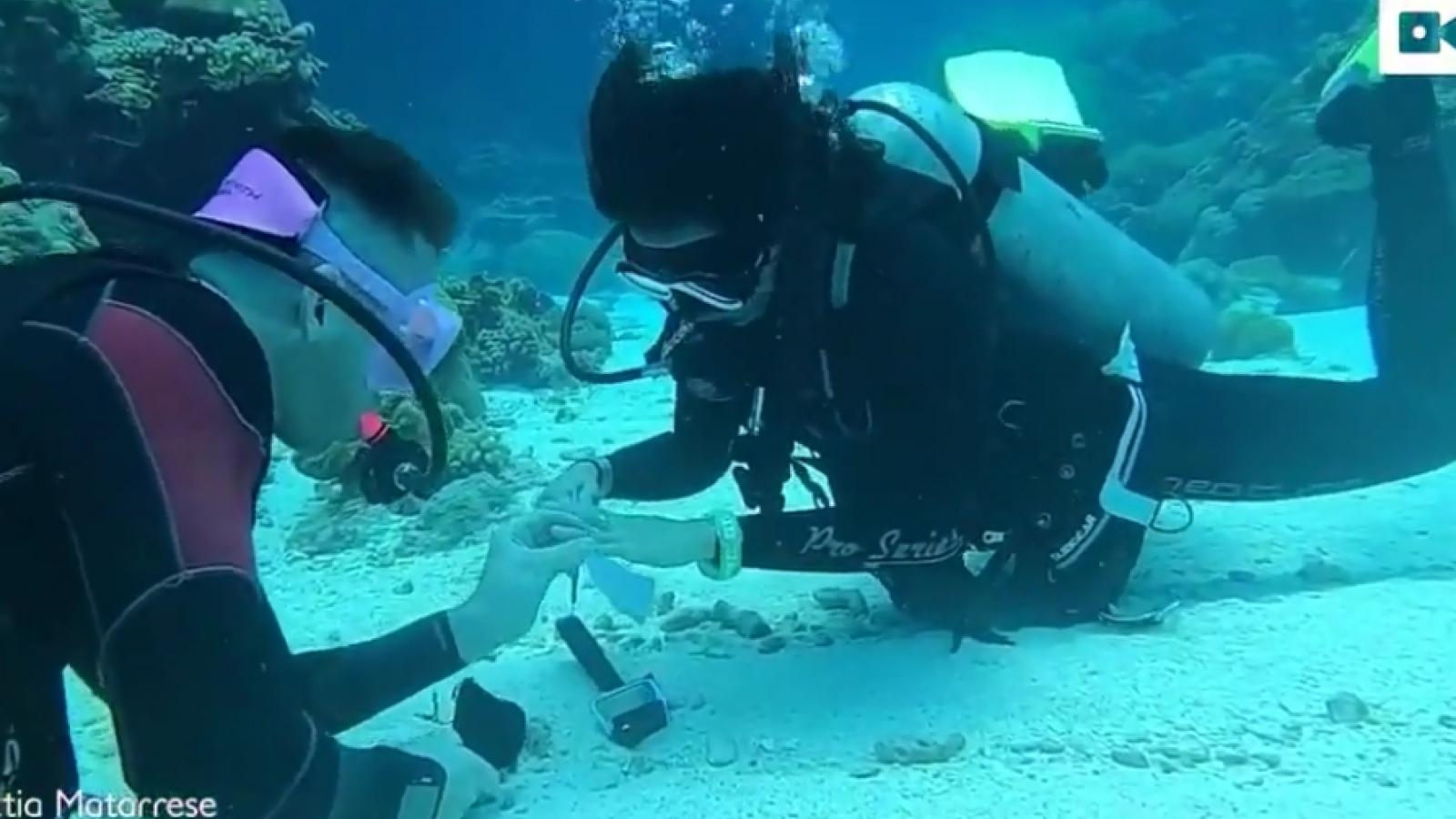 Video: Cặp đôi mạo hiểm đính hôn khi lặn dưới đáy biển, ở độ sâu 10m