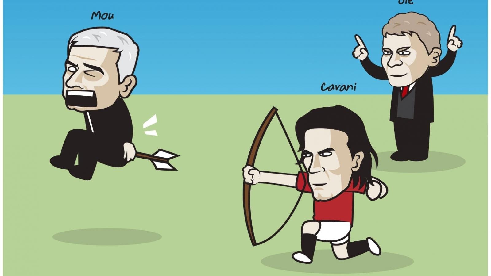 """Biếm họa 24h: """"Cung thủ"""" Edinson Cavani """"bắn hạ"""" Jose Mourinho"""