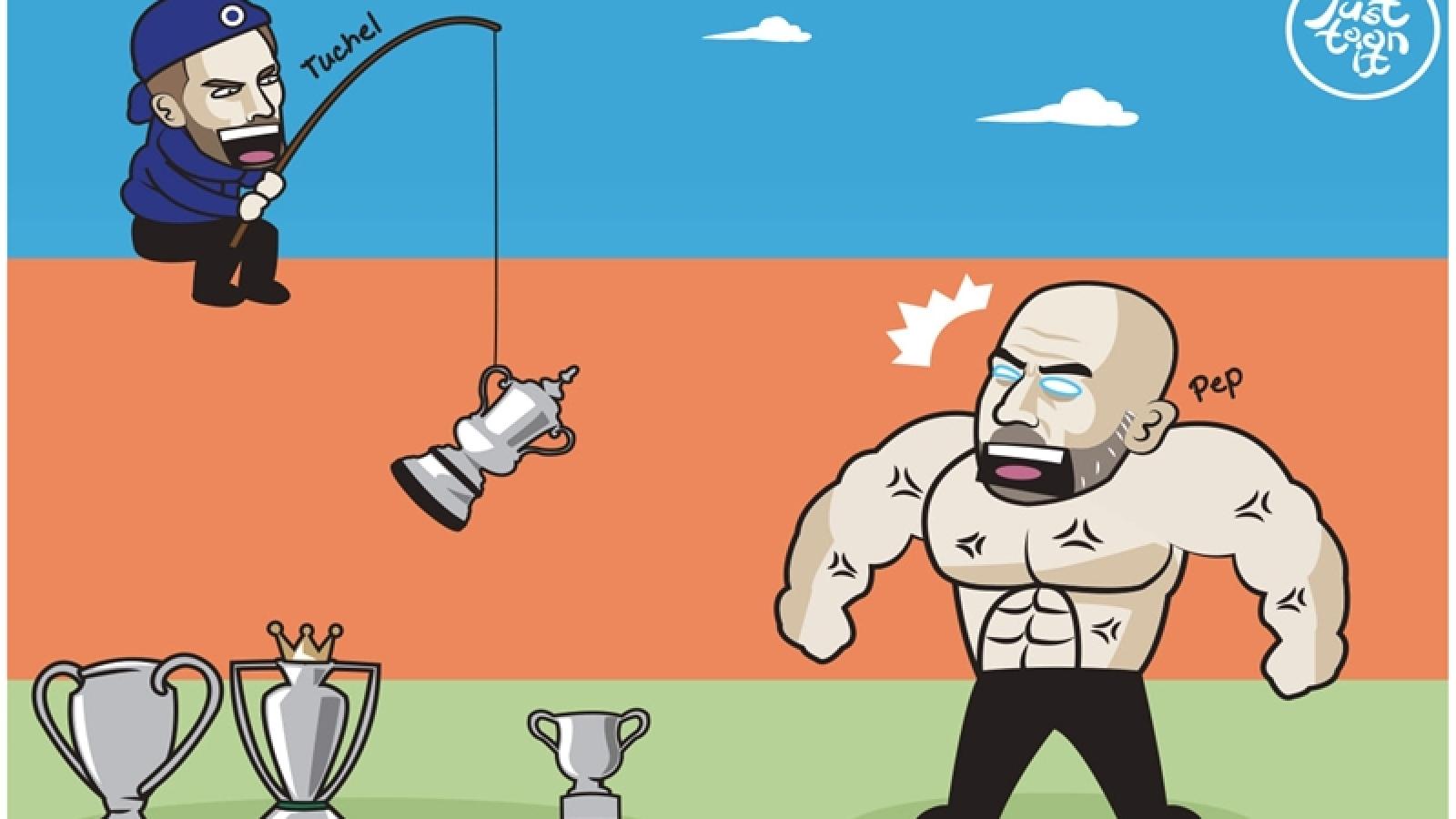 """Biếm họa 24h: Chelsea phá hỏng giấc mơ giành """"cú ăn 4"""" của Man City"""