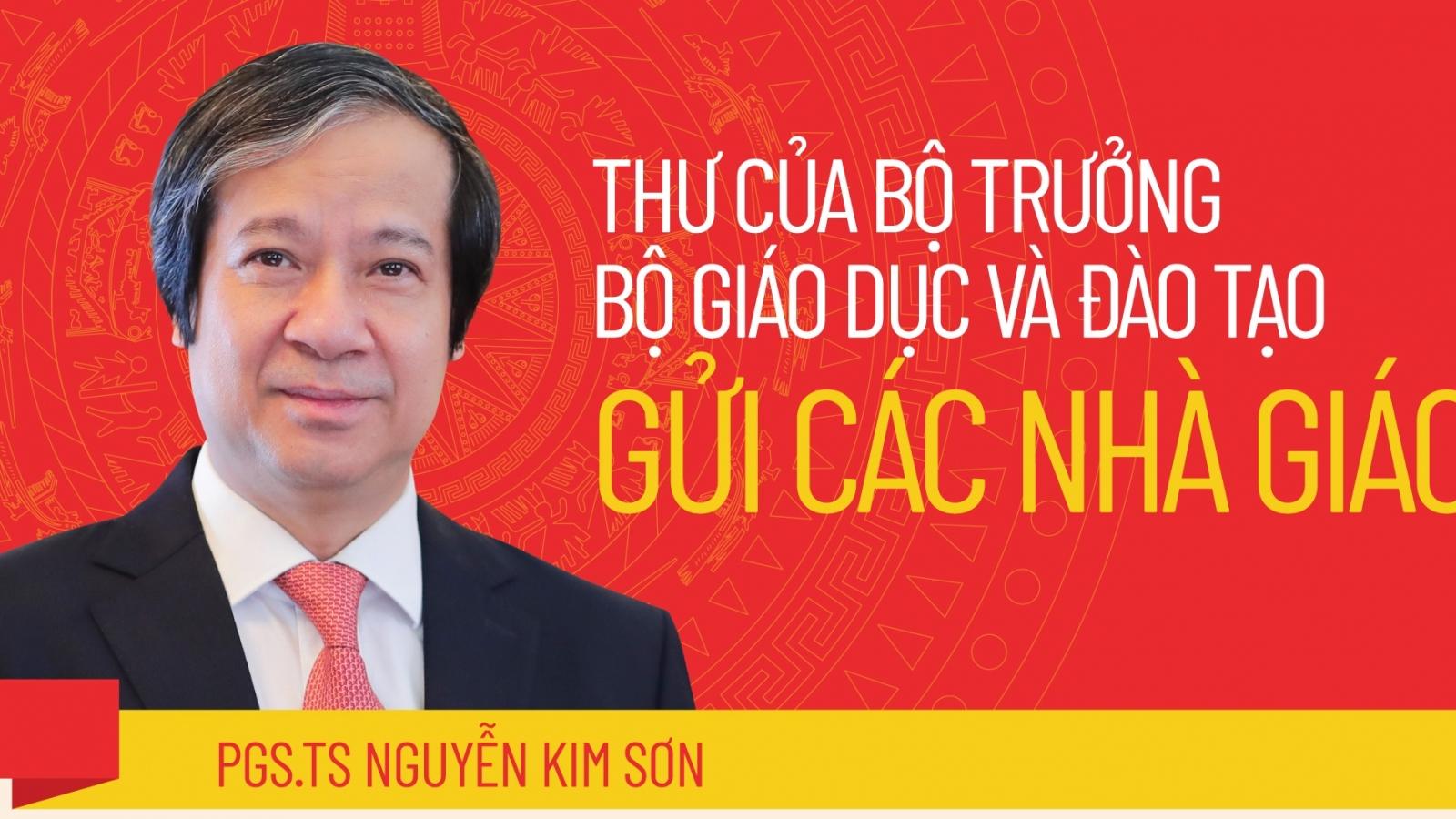 Tân Bộ trưởng Bộ GD&ĐT Nguyễn Kim Sơn gửi thư cho các nhà giáo
