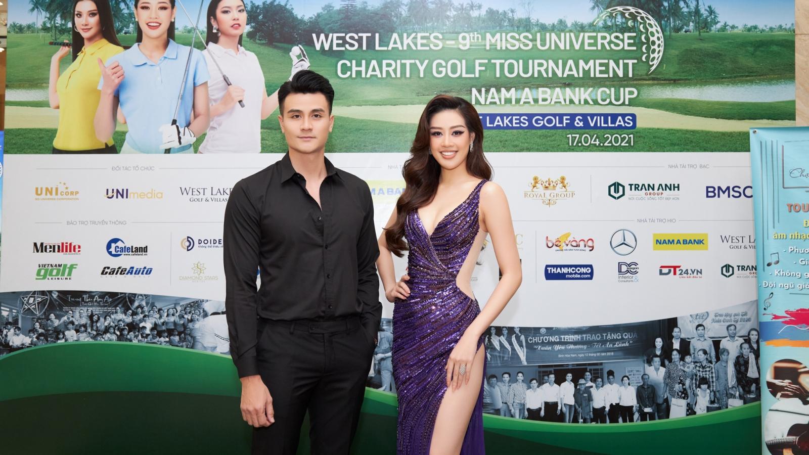 Hoa hậu Khánh Vân diện đầm tím quyến rũ, sánh đôi cùng siêu mẫu Vĩnh Thụy