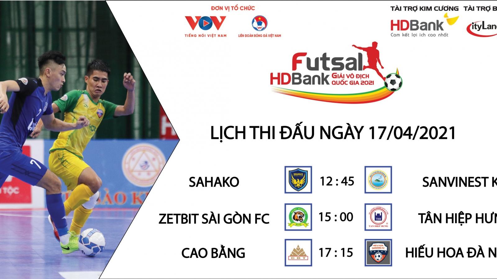 Lịch thi đấu Giải Futsal HDBank VĐQG 2021 hôm nay 17/4