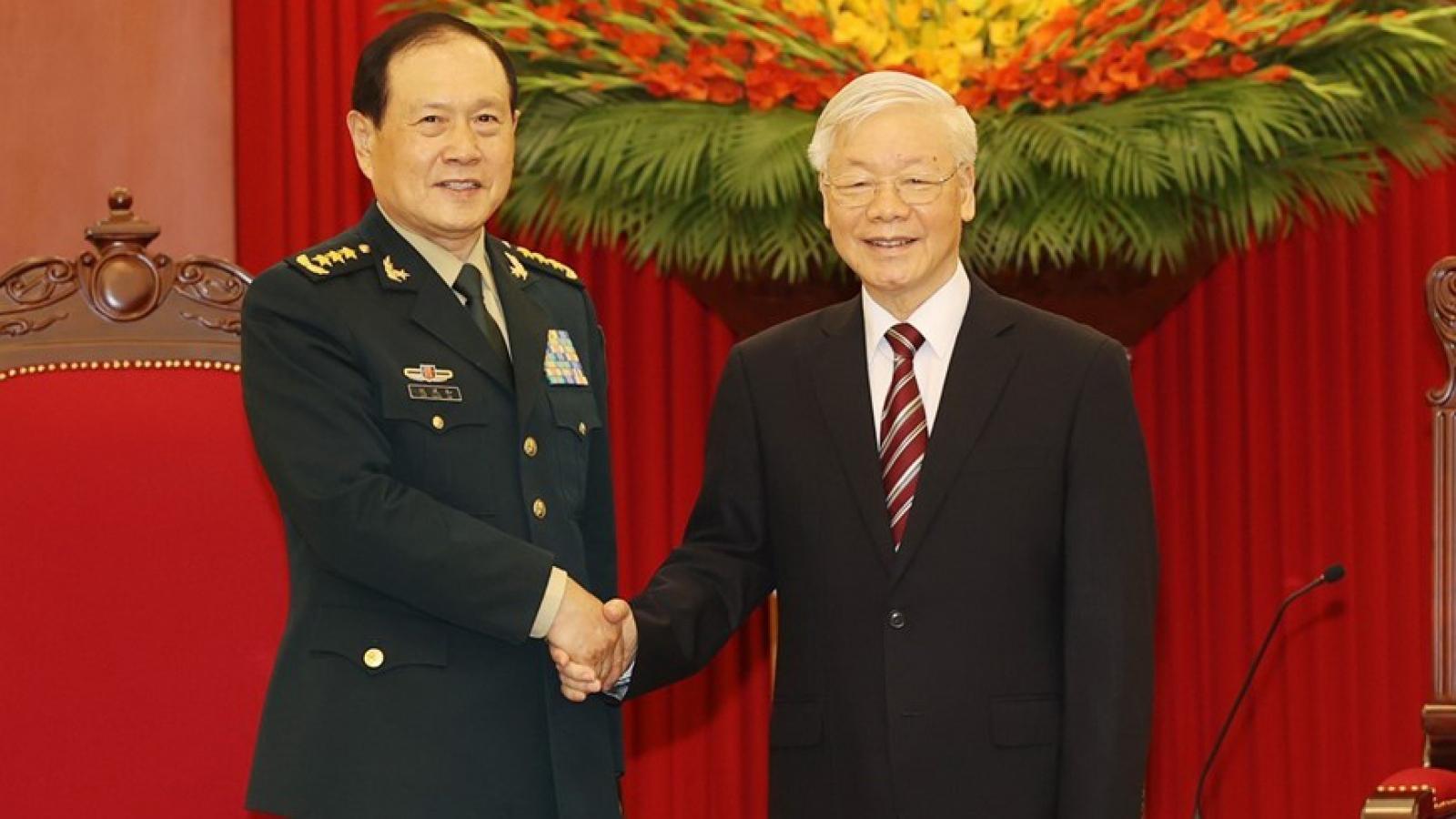 Tổng Bí thư Nguyễn Phú Trọng tiếp Bộtrưởng Quốc phòng Trung Quốc Ngụy Phượng Hòa