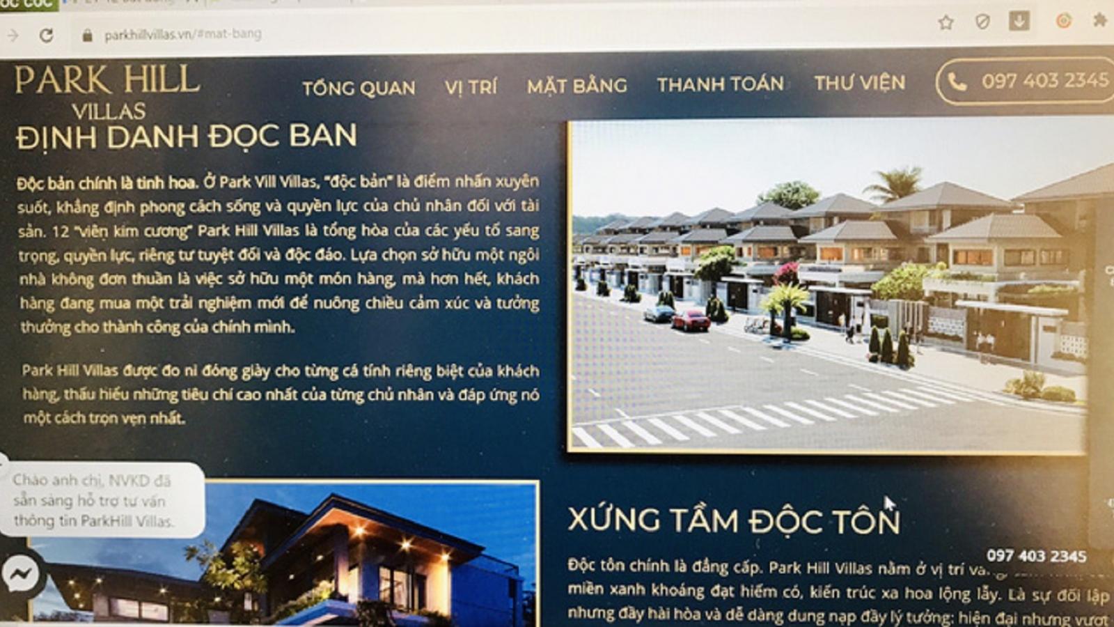 """Thừa Thiên Huế vào cuộc việc quảng cáo """"thổi phồng"""" Khu nghỉ dưỡng Park Hill Villas"""