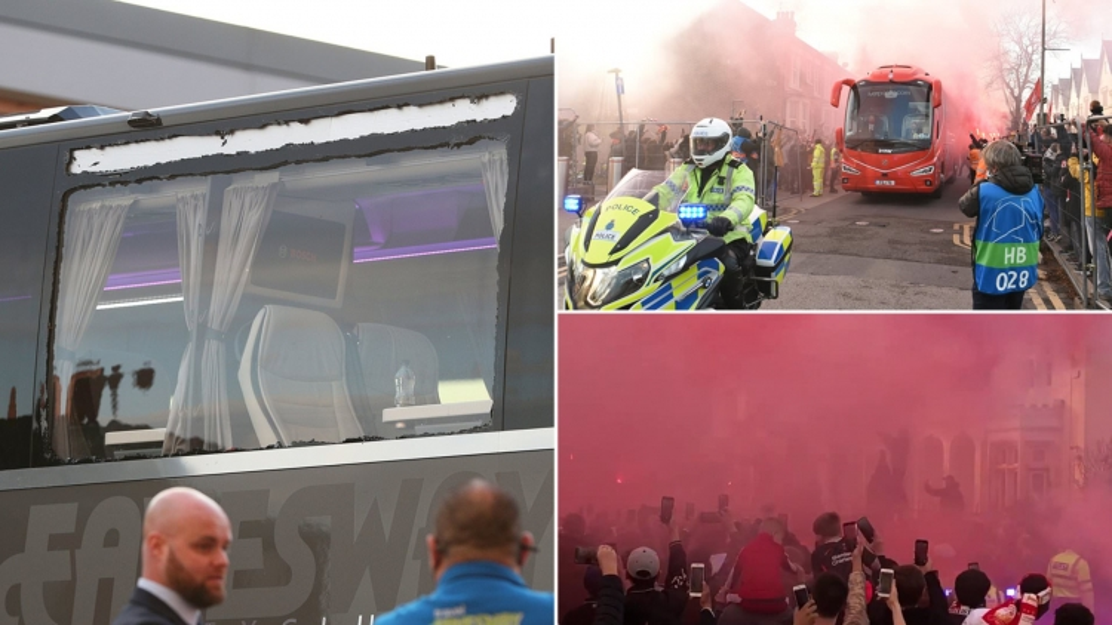 Xe bus chở Real Madrid bị fan cuồng Liverpool ném vỡ cửa kính
