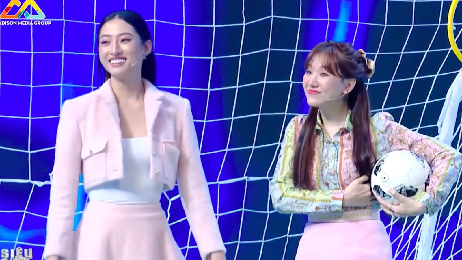Trấn Thành bất lực với màn mặc váy ngắn đá bóng của Lương Thùy Linh và bà xã Hari